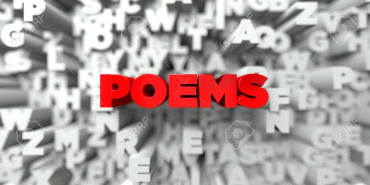 POEMS -   3D stock image of Red text on white background
